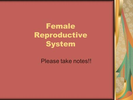 Female Reproductive System Please take notes!!. VOCABULARY Puberty – t he bodies physiological and anatomical changes Pituitary Gland – g land in the.