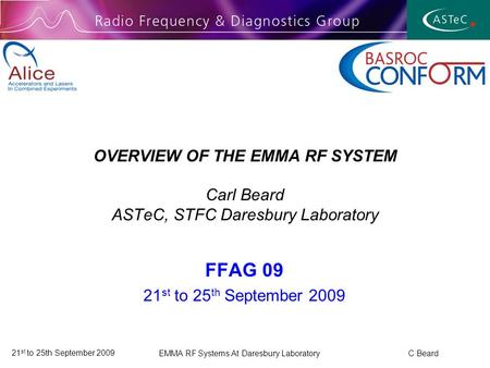 21 st to 25th September 2009 EMMA RF Systems At Daresbury Laboratory C Beard OVERVIEW OF THE EMMA RF SYSTEM Carl Beard ASTeC, STFC Daresbury Laboratory.