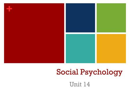 + Social Psychology Unit 14. + Social Psychology The scientific study of how we think about, influence, and relate to one another. Social thinking involves.