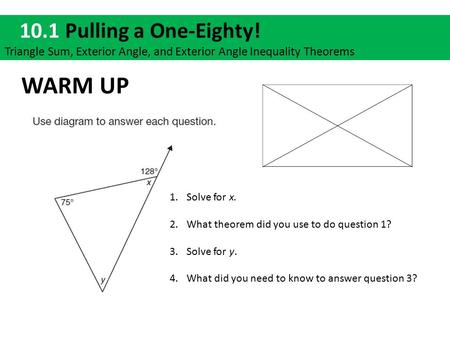1 4 tutor time warm up january 7 tutor time lesson opener as a class ppt download What do exterior angles of a triangle add up to
