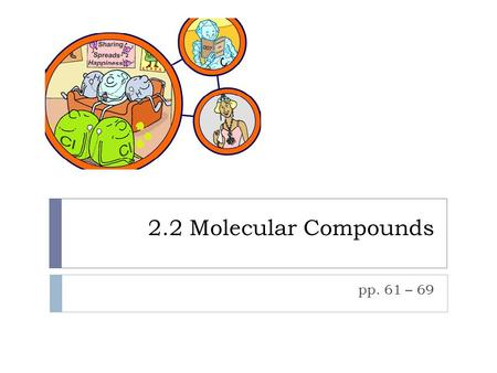 2.2 Molecular Compounds pp. 61 – 69. First Some Useful Vocabulary  Diatomic molecules – consist of two atoms sharing a covalent bond  Polyatomic molecules.