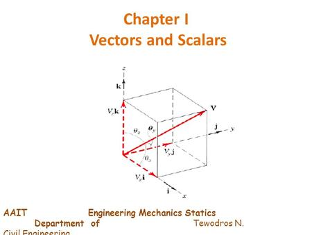 Chapter I Vectors and Scalars AAIT Engineering Mechanics Statics Department of Tewodros N. Civil Engineering.