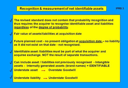 Recognition & measurement of net identifiable assets IFRS 3 The revised standard does not contain that probability recognition and thus requires the acquirer.