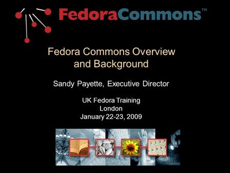 Fedora Commons Overview and Background Sandy Payette, Executive Director UK Fedora Training London January 22-23, 2009.
