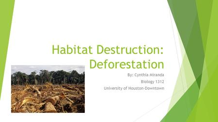 Habitat Destruction: Deforestation By: Cynthia Miranda Biology 1312 University of Houston-Downtown.