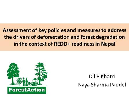 Assessment of key policies and measures to address the drivers of deforestation and forest degradation in the context of REDD+ readiness in Nepal Dil B.