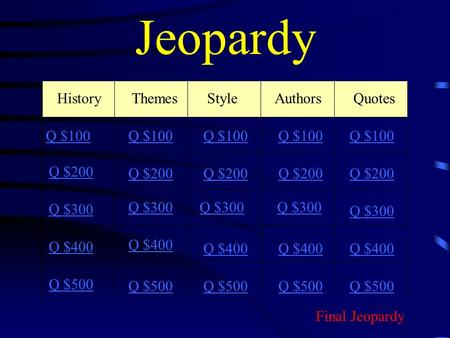 Jeopardy History ThemesStyleAuthors Quotes Q $100 Q $200 Q $300 Q $400 Q $500 Q $100 Q $200 Q $300 Q $400 Q $500 Final Jeopardy.