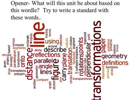 Opener- What will this unit be about based on this wordle? Try to write a standard with these words..
