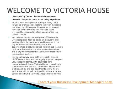  Liverpool City Centre | Residential Apartments  Invest in Liverpool's latest urban living experience.  Victoria House will provide a unique living.