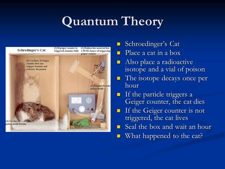 Quantum Theory Schroedinger's Cat Place a cat in a box Also place a radioactive isotope and a vial of poison The isotope decays once per hour If the particle.
