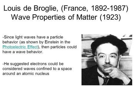 Louis de Broglie, (France, 1892-1987) Wave Properties of Matter (1923) -Since light waves have a particle behavior (as shown by Einstein in the Photoelectric.