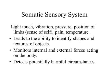 Somatic Sensory System Light touch, vibration, pressure, position of limbs (sense of self), pain, temperature. Leads to the ability to identify shapes.