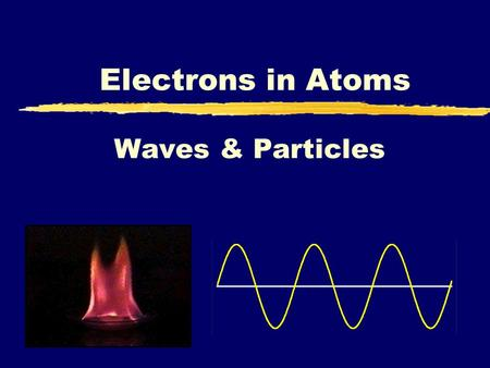 Waves & Particles Electrons in Atoms. Electrons Electrons which are negatively charged, travel around the nucleus (the center of the atom).