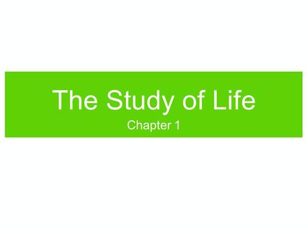 "The Study of Life Chapter 1. What is Life? The concept of ""living"" can be difficult to define, since many qualities of living things can be seen in non-living."