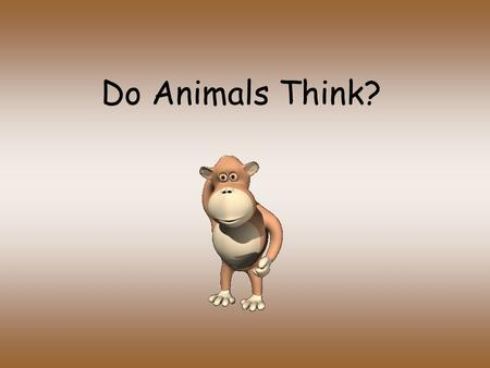 Do Animals Think?. Do animals think? 4 cognitive skills shared by the great apes and humans –Formation of concepts –Display insight –Use and create tools.