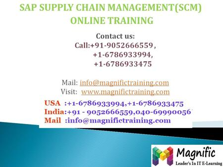SAP SUPPLY CHAIN MANAGEMENT(SCM) ONLINE TRAINING.