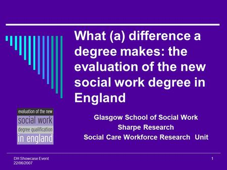 DH Showcase Event 22/06/2007 1 What (a) difference a degree makes: the evaluation of the new social work degree in England Glasgow School of Social Work.
