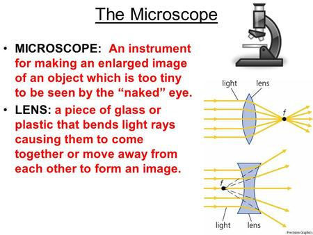 "The Microscope MICROSCOPE: An instrument for making an enlarged image of an object which is too tiny to be seen by the ""naked"" eye. LENS: a piece of glass."