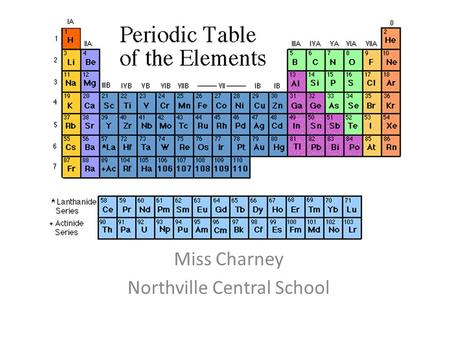 The Periodic Table Miss Charney Northville Central School.