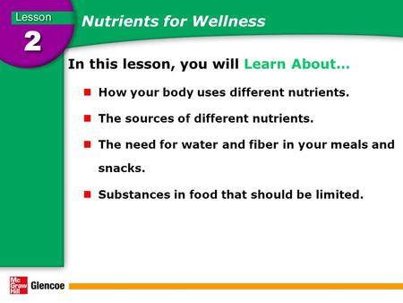 Nutrients for Wellness In this lesson, you will Learn About… How your body uses different nutrients. The sources of different nutrients. The need for water.