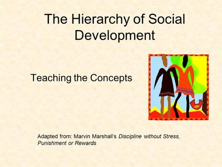 The Hierarchy of Social Development Teaching the Concepts Adapted from: Marvin Marshall's Discipline without Stress, Punishment or Rewards.