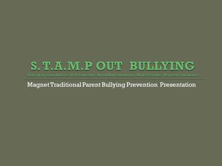Magnet Traditional Parent Bullying Prevention Presentation.