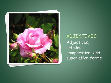 Adjectives, articles, comparative, and superlative forms.