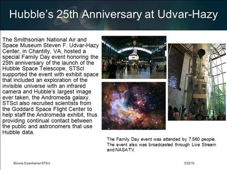 Hubble's 25th Anniversary at Udvar-Hazy The Smithsonian National Air and Space Museum Steven F. Udvar-Hazy Center, in Chantilly, VA, hosted a special Family.