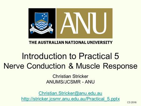 CS 2016 Introduction to Practical 5 Nerve Conduction & Muscle Response Christian Stricker ANUMS/JCSMR - ANU
