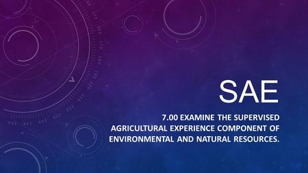 SAE 7.00 EXAMINE THE SUPERVISED AGRICULTURAL EXPERIENCE COMPONENT OF ENVIRONMENTAL AND NATURAL RESOURCES.