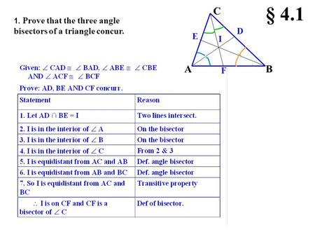 1. Prove that the three angle bisectors of a triangle concur. C AB D F E I § 4.1.