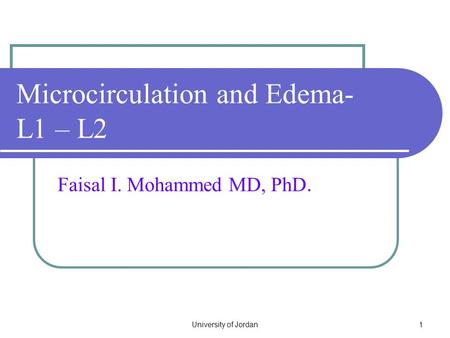 Microcirculation and Edema- L1 – L2