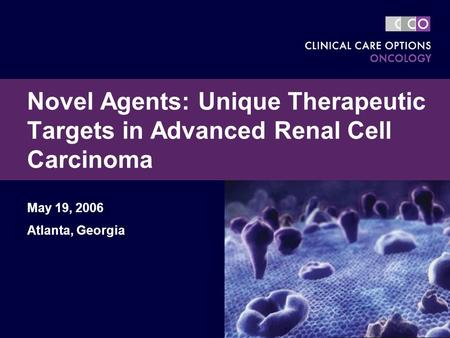 Novel Agents: Unique Therapeutic Targets in Advanced Renal Cell Carcinoma May 19, 2006 Atlanta, Georgia.
