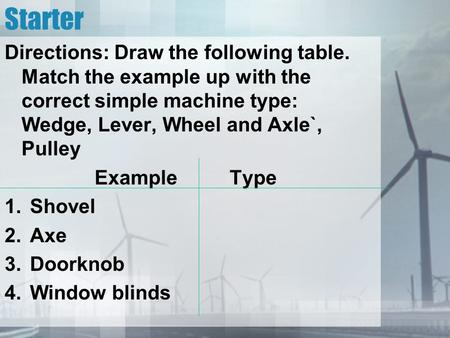 Starter Directions: Draw the following table. Match the example up with the correct simple machine type: Wedge, Lever, Wheel and Axle`, Pulley Example.