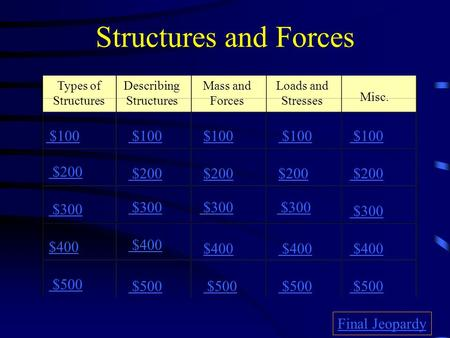 Structures and Forces Types of Structures Describing Structures Mass and Forces Loads and Stresses Misc. $100 $200 $300 $400 $500 $100 $200 $300 $400.