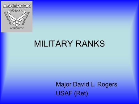MILITARY RANKS Major David L. Rogers USAF (Ret). Why Does the Military Have Ranks? Provides a more strict structure Immediate recognition of experience.