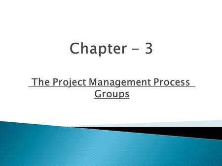 The Project Management Process Groups.  Describe the five project management process groups.  Understand how the project management process groups relate.