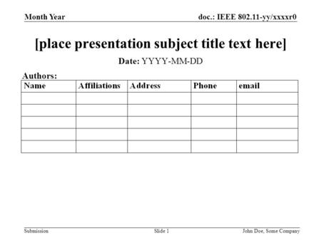 Doc.: IEEE 802.11-yy/xxxxr0 Submission Month Year John Doe, Some CompanySlide 1 [place presentation subject title text here] Date: YYYY-MM-DD Authors:
