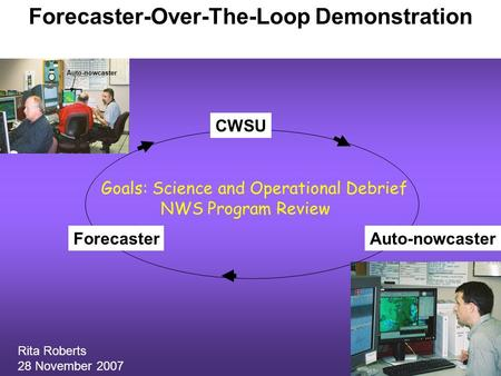 Forecaster-Over-The-Loop Demonstration Forecaster CWSU Auto-nowcaster Rita Roberts 28 November 2007 Goals: Science and Operational Debrief NWS Program.