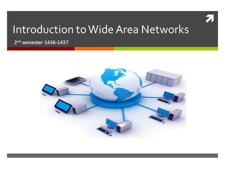  Introduction to Wide Area Networks 2 nd semester 1436-1437.