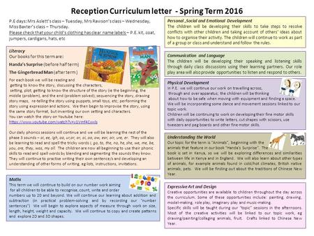 Reception Curriculum letter - Spring Term 2016 Literacy Our books for this term are: Handa's Surprise (before half term) The Gingerbread Man (after term.