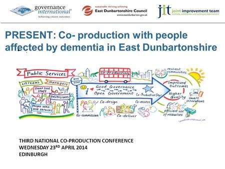 PRESENT: Co- production with people affected by dementia in East Dunbartonshire. THIRD NATIONAL CO-PRODUCTION CONFERENCE WEDNESDAY 23 RD APRIL 2014 EDINBURGH.