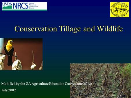 Conservation Tillage and Wildlife Modified by the GA Agriculture Education Curriculum Office July 2002.