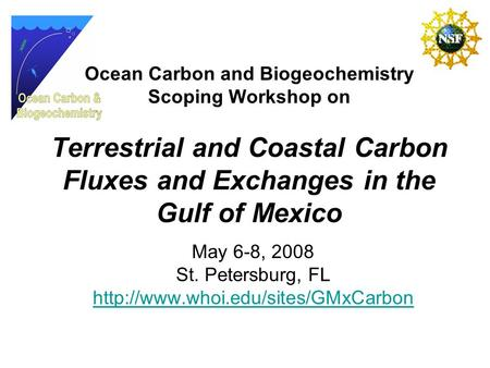 Ocean Carbon and Biogeochemistry Scoping Workshop on Terrestrial and Coastal Carbon Fluxes and Exchanges in the Gulf of Mexico May 6-8, 2008 St. Petersburg,