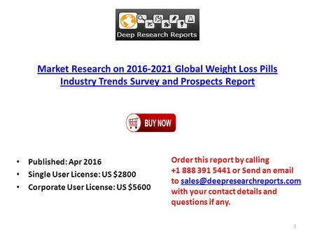 Market Research on 2016-2021 Global Weight Loss Pills Industry Trends Survey and Prospects Report Published: Apr 2016 Single User License: US $2800 Corporate.