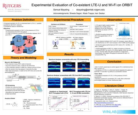 Experimental Evaluation of Co-existent LTE-U and Wi-Fi on ORBIT Problem DefinitionExperimental Procedure Results Observation WINLAB Conclusion Samuel