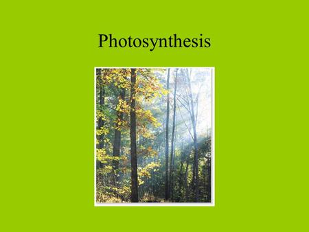 Photosynthesis. Overall equation Structure of a Chloroplast.
