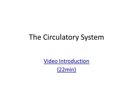 The Circulatory System Video Introduction (22min).