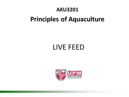 LIVE FEED AKU3201 Principles of Aquaculture. Broodstock –> larvae -> fry -> fingerling -> juvenile Life cycle 2.