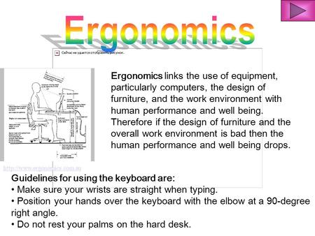 Ergonomics links the use of equipment, particularly computers, the design of furniture, and the work environment with human.